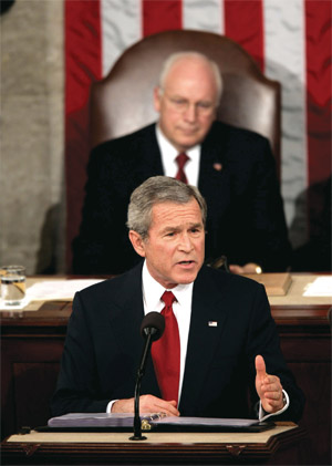Vice President Dick Cheney looks on as President Bush gives his State of the Union address Wednesday, Feb. 2, 2005, on Capitol Hill. (AP Photo/Charles Dharapak)